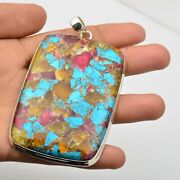 Copper Turquoise Gemstone Jewelry 925 Sterling Silver Pendant For Girls Kb15501
