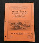 1950 Massey Harris 6 Ft And 7 Ft Clipper Combine Parts Catalog Manual Very Good