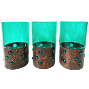 Set Of 3 Bubble Copper And Glass Drinking Glasses By Nanny Still, Raak Netherlands