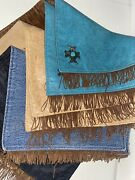 Lot Of Eight 8 Western Placemats Teal Tan Branded Leather Denim Fringe