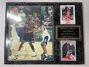 Micheal Jordan Autographed Photo On Plaque With 2 Cards