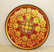 Vintage Russian Folk Hand Painted Floral Wood Platter Tray
