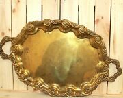 Antique Ornate Brass Serving Tray