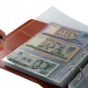 5pcs Money Banknote Paper Album Page Collecting Holder Sleeves 3-slot Supplies