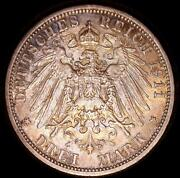 German States Prussia 1911-a 3 Marks Old World Silver Coin High Grade