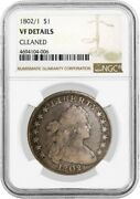 1802/1 Narrow Date 1 Draped Bust Silver Dollar B-1 Bb-231 Ngc Vf Detail Cleaned