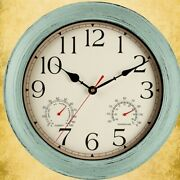 13.7 Retro Room Quartz Analog Wall Clock With Thermometer And Hygrometer Combo