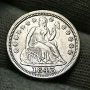 1843 Seated Liberty Dime 10 Cents. Nice Coin Free Shipping 551