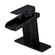 Waterfall Single Handle Bathroom Sink Faucet With Supply Line - Rubbed Bronze