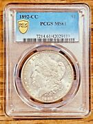 1892-cc Ms61 Gold Shield Morgan Silver Dollar Pcgs Graded Certified Us 1 Coin