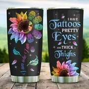 Personalized Tattoo Sunflower Stainless Steel Tumbler Cup With Lid 20/30oz