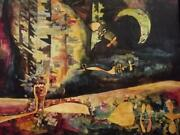 Atelier Carette Large 1960and039s French Futurist Cubist Nocturne Abstract Painting