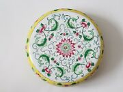 Antique Chinese Qing Dynasty Cloisonne Enamel Round Box And Cover - Qing