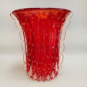 Stefano Toso Large Murano Art Glass Vase, Red With Bubbles And Gold Flecks