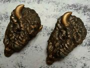 Ansonia Buffalo Head Mantle Clock Book Ends Case Decorations Parts Old Vintage