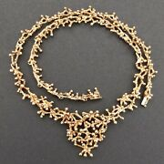Vintage 14k Yellow Gold Necklace Of Branches And Berries 16 Long 39 Grams