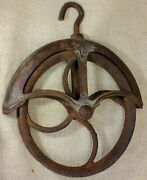 """Old Well Fender Pulley 9"""" Large 1880's Vintage Rustic Iron 10 Rusty Barn Find"""