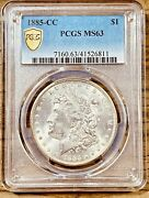 1885-cc Ms63 Gold Shield Morgan Silver Dollar Pcgs Graded Certified Us 1 Coin
