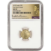 2018 American Gold Eagle 1/10 Oz 5 - Ngc Ms70 First Day Issue St Gaudens Label