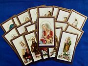 Lot Of 20 Vintage Catholic Holy Cards Religious Saintly Images With Flowers S19