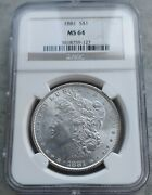 1881 P Morgan Ngc Ms64. This Is A Bright And Lusterus Coin.