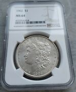 1902-p Morgan Dollar Ms64 Ngc. This Is A Bright Lusterus Coin And A Harder Date.