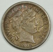 1902-s Barber Dime. Strike Over Obv. In Front Of Mouth. Natural X.f. 136946