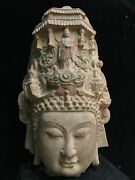 22.8 Chinese Old Antique Dynasty Cyan Stone Handcarved Buddha Head Statue
