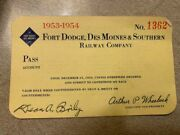1953-1954 Dort Dodge Des Moines And Southern Railway Pass