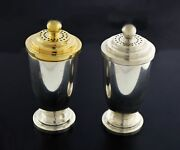 Vintage Mcm Pair Of And Co Sterling Silver Vermeil Salt And Pepper Shakers