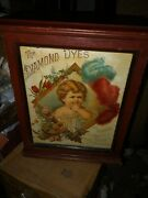 Vintage Rare Superb C.1900 Tin Lithographed Diamond Dyes Baby Store Cabinet