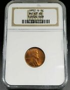 1952 S Lincoln Wheat Cent Penny Coin Ngc Ms67 Rd Red Brown Label Ana Holder