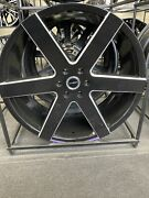 """24"""" Strada Coda Black Milled Wheels And Tires Full Package 6x139.7"""