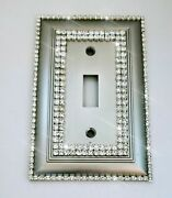 Crystal Bling Rhinestone Decorative Toggle Wall Plate Switch Cover Satin Nickel
