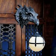 Cl2425 Marshgate Castle Dragon Sculptural Electric Wall Sconce Lamp - New