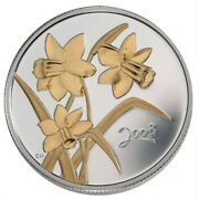 🇨🇦 Canada 50 Cents Coin, Flower, Golden Daffodil Sterling Silver, Unc, 2003