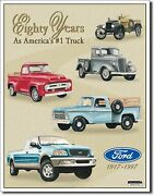 Ford Trucks 1917- 1997 80 Years 1 Metal Sign Tin New Vintage Style Usa 712