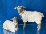 Vintage Primitive Black Mutton Face Sheep Lambs Bell Meadow Doll Set Of 2 ❤️i4