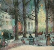 1953 Christmas Village Tree Snow Antique Auto Card Fraternal Order Eagles Foe