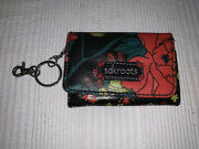 Sakroots Peace Multicolor Floral Id Card Holder Wallet Coin Purse Keychain Euc
