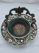 Judaica Collectible Old Oppenheim Brass Bowl With Handle Made In Israel