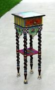 Mackenzie-childs Dark Tiny Slender Accent Wood Table Unique Painted. Mint Used