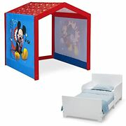 Disney Mickey Mouse Indoor Playhouse With Fabric Tent + Mysize Wood Toddler B...