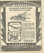 1930 Massey-harris No 21 Walking Plow And Quebec Sulky Plow Original Ad In French