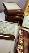 Rare Antique French Board Game Dauphin Loto 12 Walnut Game Boards