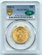 1901-s 10 Ten Dollar Gold Liberty Head Coin Pcgs And Cac Ms 64