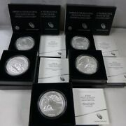 Set Of 5 - 2014 5 Oz Silver Burnished America The Beautiful Coins W/box And Coa