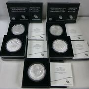 Set Of 5 - 2015 5 Oz Silver Burnished America The Beautiful Coins W/box And Coa