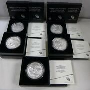 Set Of 5 - 2017 5 Oz Silver Burnished America The Beautiful Coins W/box And Coa