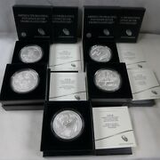 Set Of 5 - 2018 5 Oz Silver Burnished America The Beautiful Coins W/box And Coa